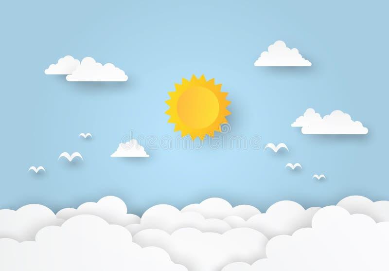 Bello Cloudscape, nuvole e sole su fondo blu, stile di carta di arte illustrazione di stock