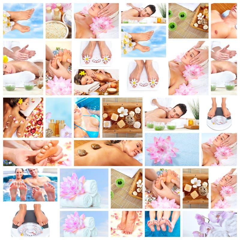 Bello collage di massaggio della stazione termale. immagine stock libera da diritti