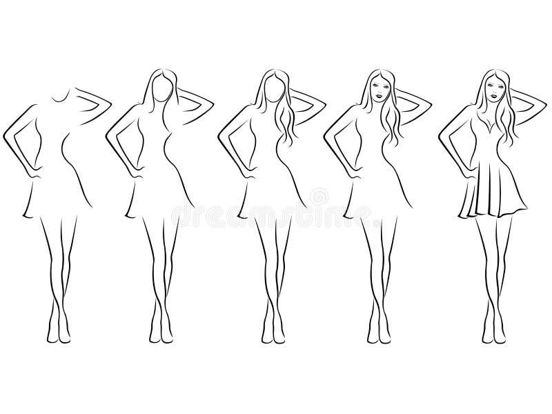 Bello contorno delle giovani donne nella sequenza del disegno royalty illustrazione gratis