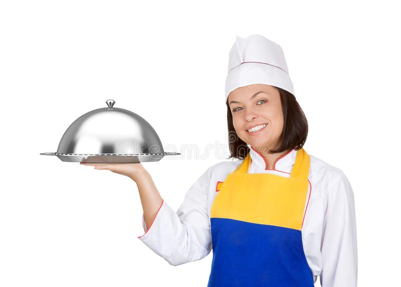 Bello cuoco unico della giovane donna con la campana di vetro del ristorante immagini stock libere da diritti
