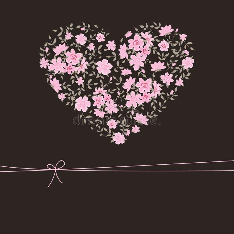 Bello cuore floreale illustrazione di stock