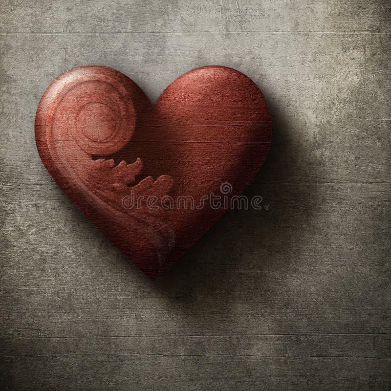 Bello cuore rosso sul fondo di lerciume fotografia stock