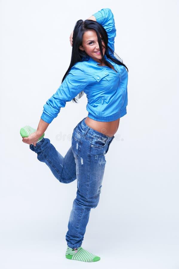 Bello dancing della ragazza fotografie stock libere da diritti