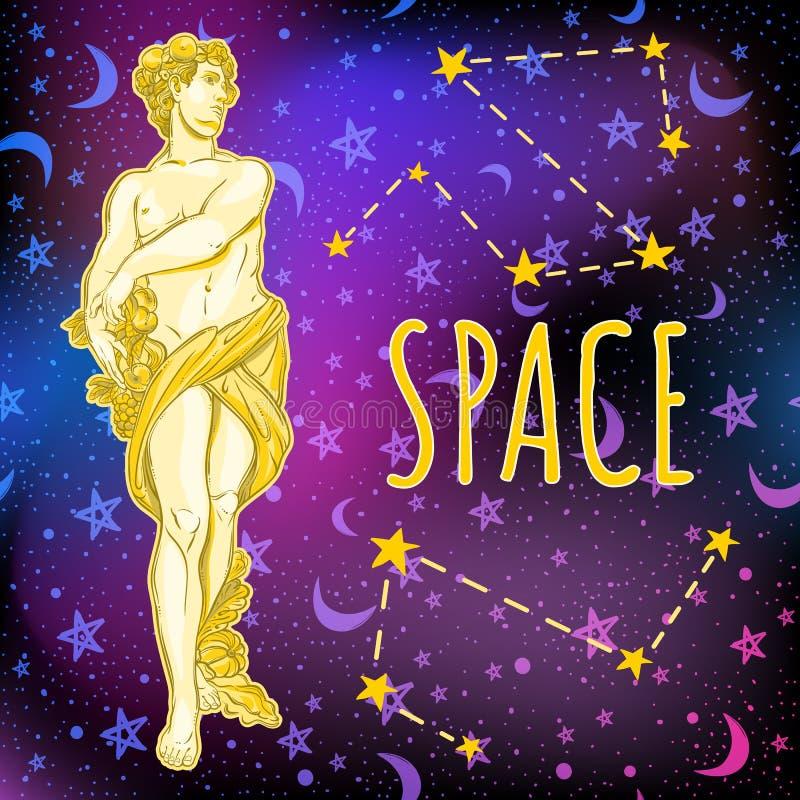 Bello dio greco sul fondo dello spazio L'eroe mitologico della Grecia antica Illustrazione di vettore di spazio cosmico illustrazione di stock