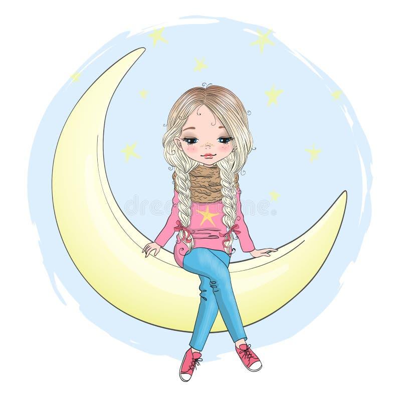 Bello disegnato a mano, sveglio, bambina sta sedendosi sulla luna royalty illustrazione gratis