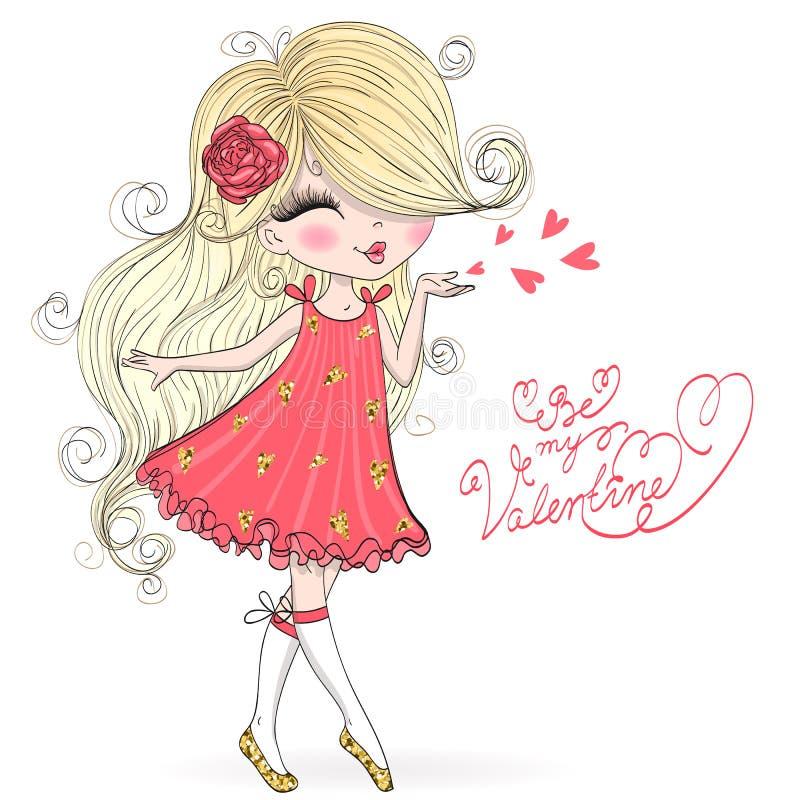 Bello disegnato a mano, sveglio, ragazza del biglietto di S. Valentino nell'amore illustrazione di stock