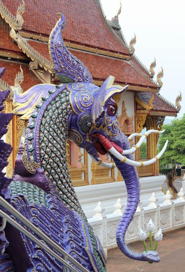 Bello e tempio tailandese famoso di Wat Ban Den, Chiangmai, Tailandia del Nord immagine stock libera da diritti
