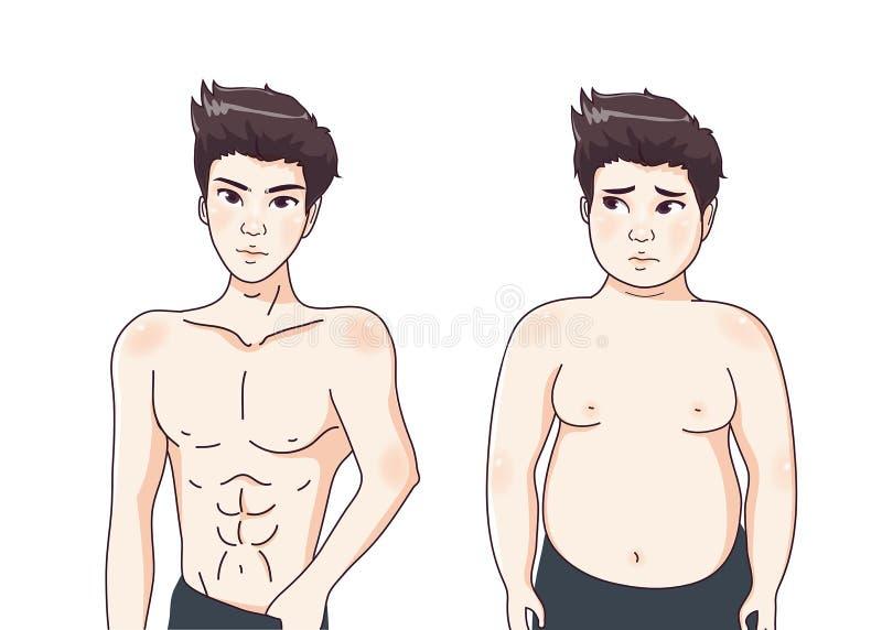 Bello ed il tipo grasso illustrazione di stock