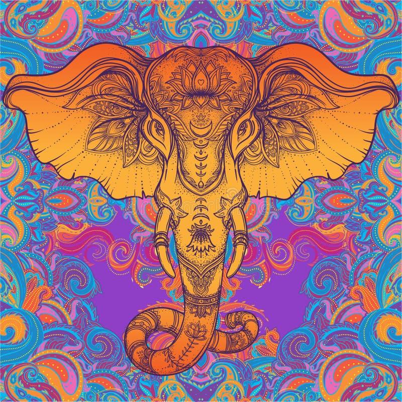Bello elefante tribale disegnato a mano di stile sopra la mandala Colorfu illustrazione vettoriale