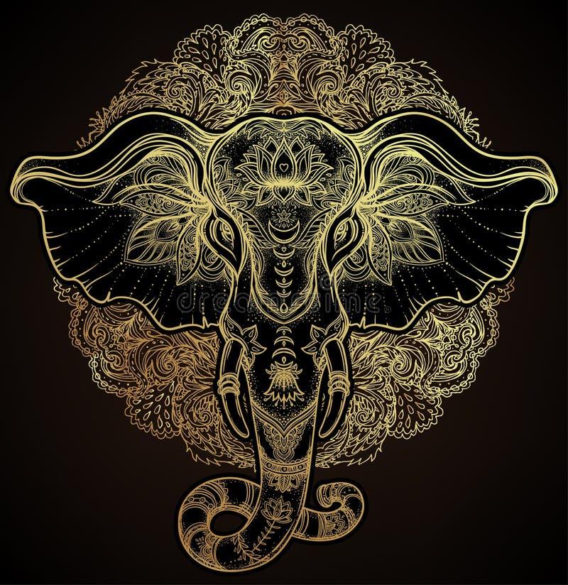 Bello elefante tribale disegnato a mano di stile sopra la mandala Colorfu royalty illustrazione gratis