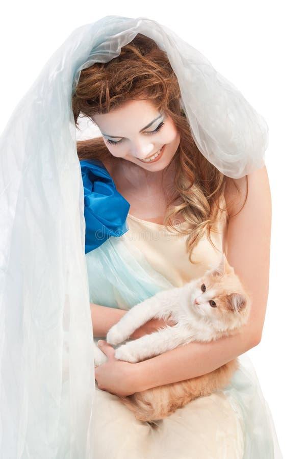 Bello elven la ragazza con il gattino fotografia stock