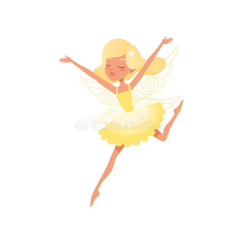 Bello fatato biondo nell'azione con le mani su Ragazza che porta vestito giallo luminoso Creatura mitica con le ali magiche royalty illustrazione gratis