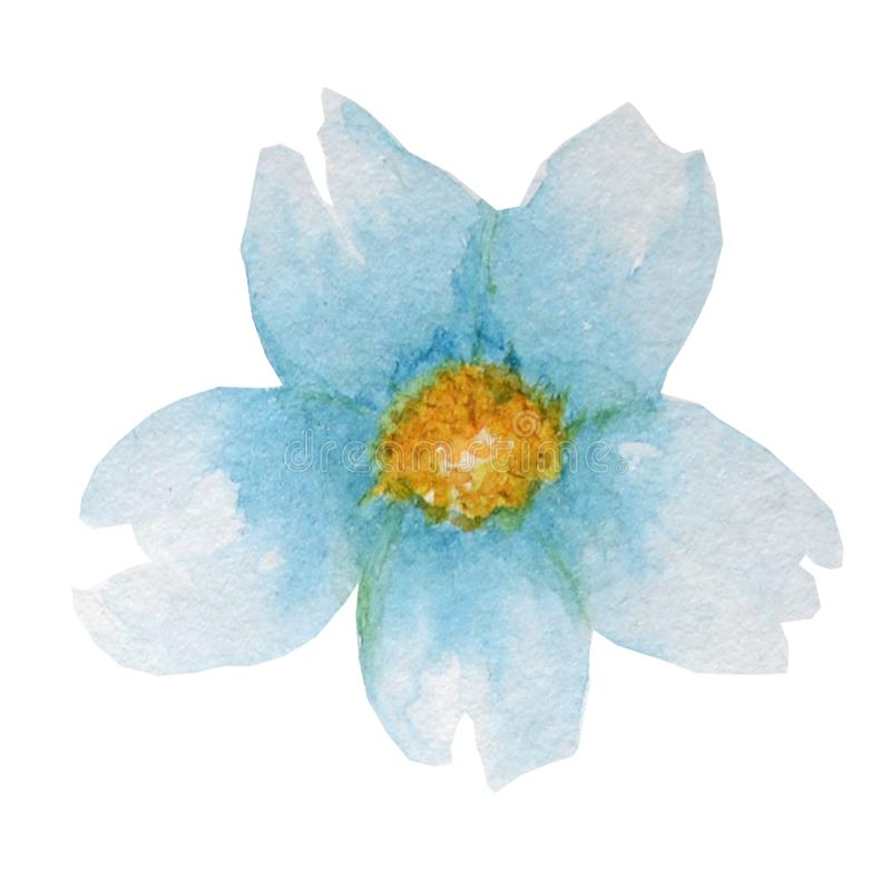 Bello fiore blu luminoso dell'acquerello Isolato su priorit? bassa bianca royalty illustrazione gratis