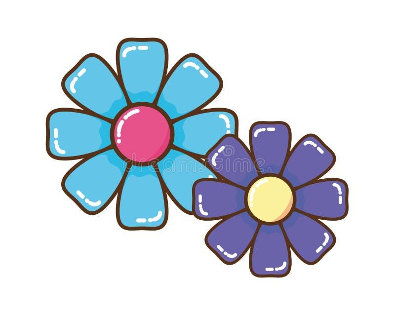 Bello fiore con l'icona isolata foglie illustrazione vettoriale