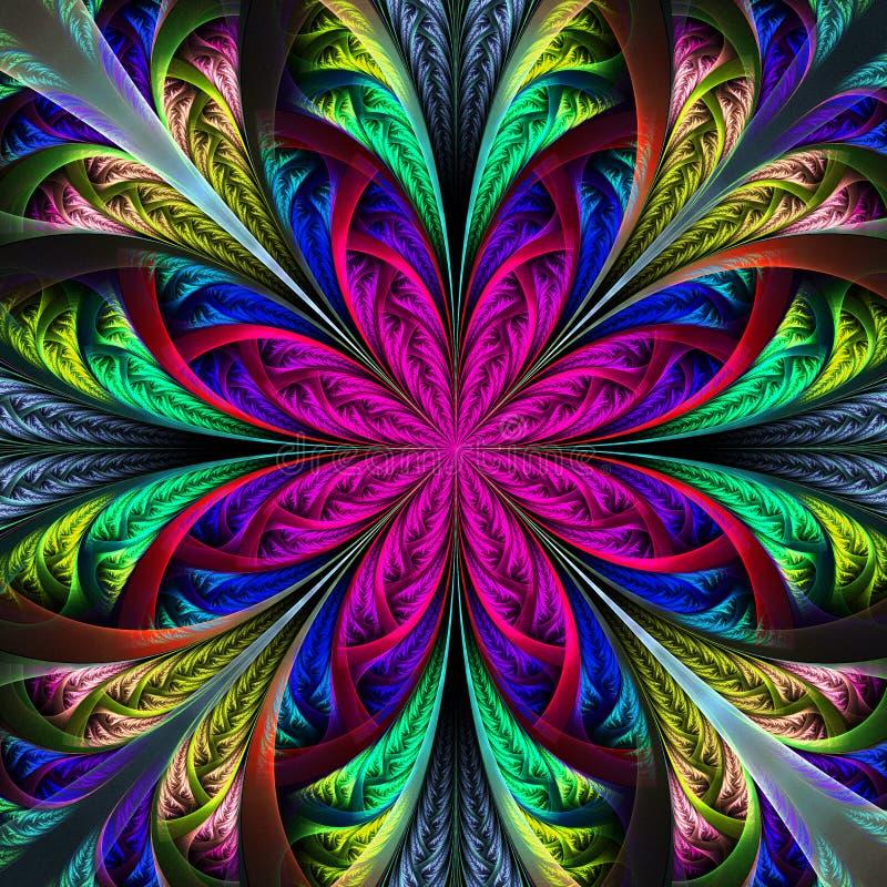 Bello fiore multicolore di frattale illustrazione vettoriale