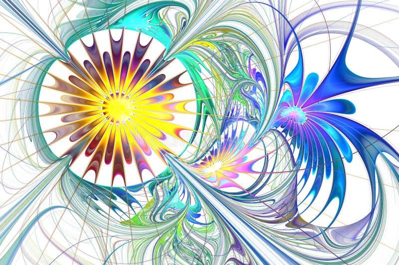 Bello fiore multicolore di frattale in blu, nella porpora e nel marrone royalty illustrazione gratis