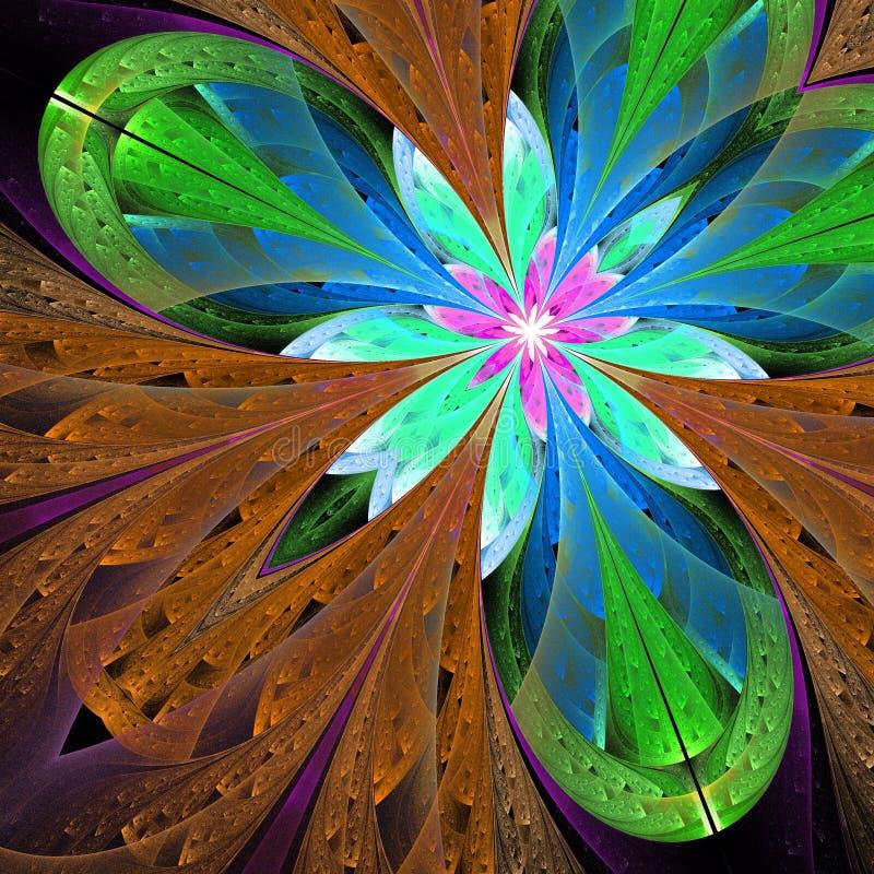 Bello fiore multicolore di frattale nel verde e nel marrone illustrazione vettoriale