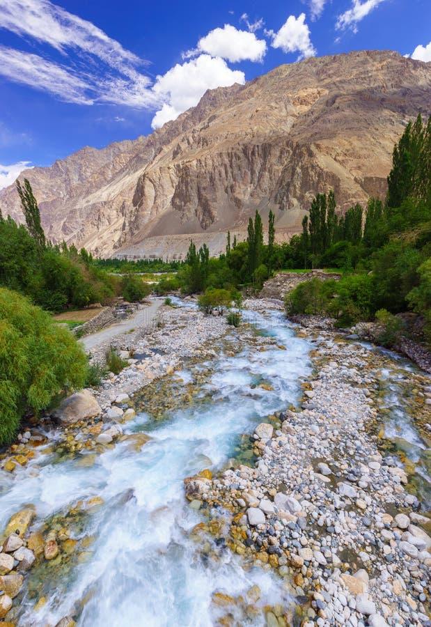 Bello fiume al villaggio di Turtuk, Diskit, il Jammu e Kashmir, dentro immagine stock libera da diritti