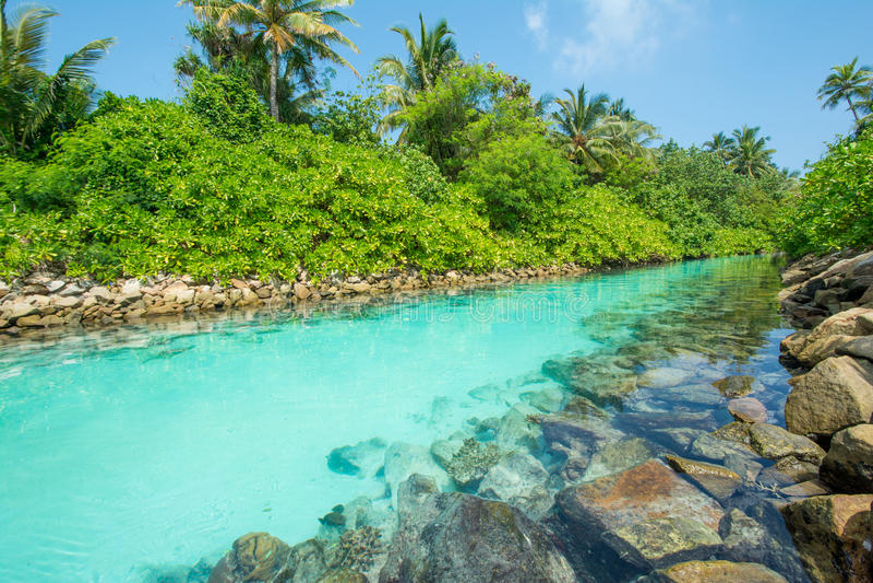 Bello fiume artificiale in mezzo alle isole tropicali fotografia stock