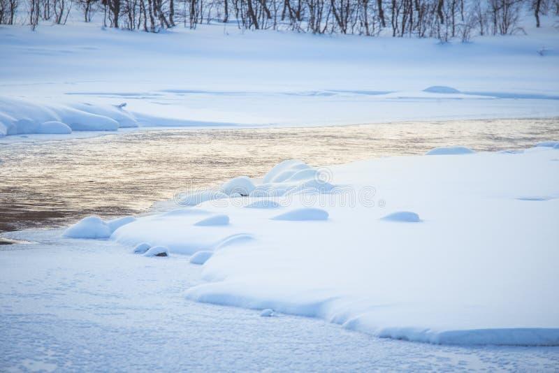Bello fiume congelato con alberi su una banca Paesaggio bianco di inverno della Norvegia centrale immagine stock libera da diritti