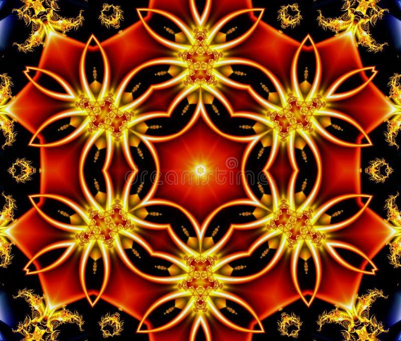bello fondo astratto che consiste di una figura geometrica rossa incorniciata da un ornamento con illuminazione su un backgro blu illustrazione vettoriale