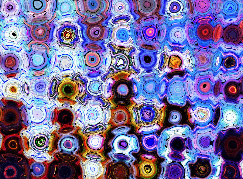 Bello fondo astratto con i cerchi, modello e note di vetro, vita e colore nella musica illustrazione vettoriale