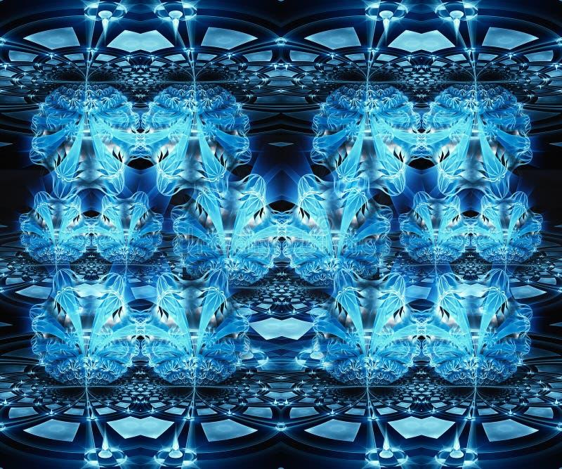 Bello fondo blu generato da computer artistico astratto del modello di effetto di frattale dei fiori 3d royalty illustrazione gratis