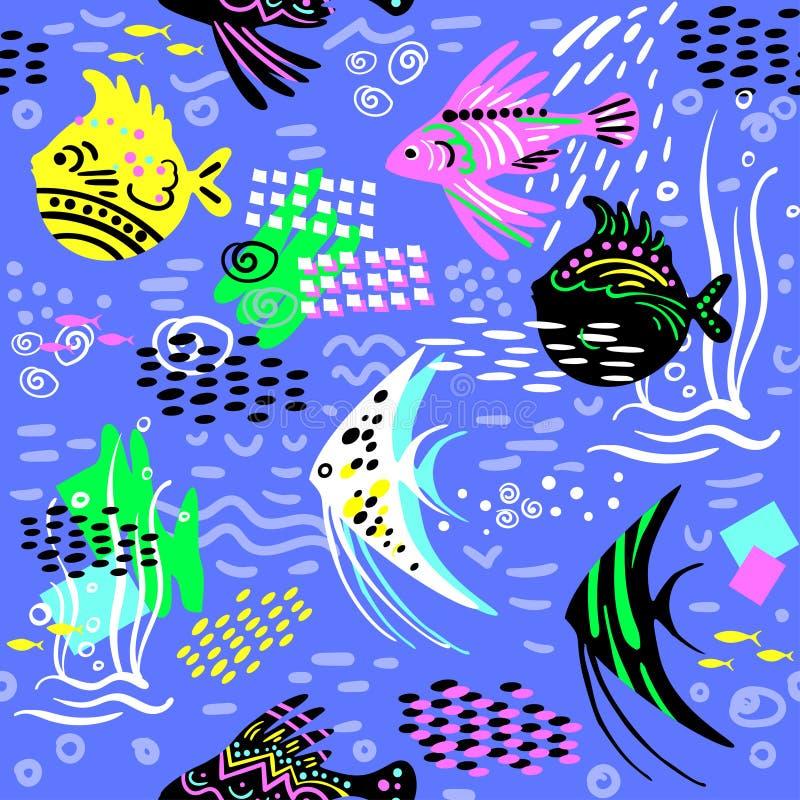 Bello fondo blu senza cuciture con il pesce esotico variopinto di scarabocchio illustrazione vettoriale