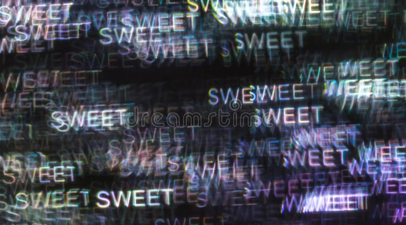 Bello fondo con il dolce colorato differente di parola, astratto immagine stock libera da diritti