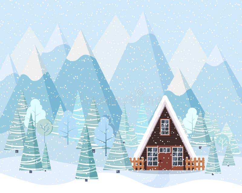Bello fondo del paesaggio di inverno di Natale nello stile piano illustrazione vettoriale