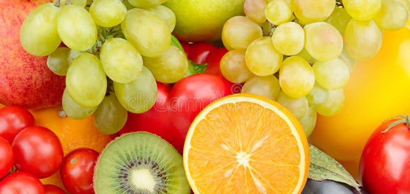Bello fondo dell'insieme delle verdure e della frutta Ampia foto fotografia stock
