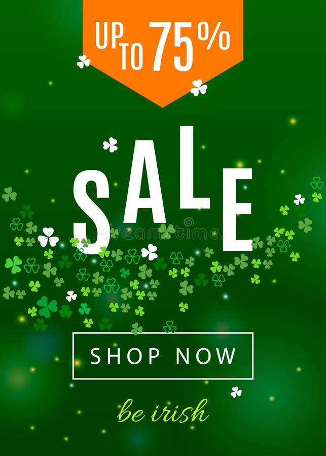 Bello fondo dell'Irlanda per il manifesto di vendita di giorno del ` s di St Patrick o la progettazione dell'insegna di web illustrazione vettoriale