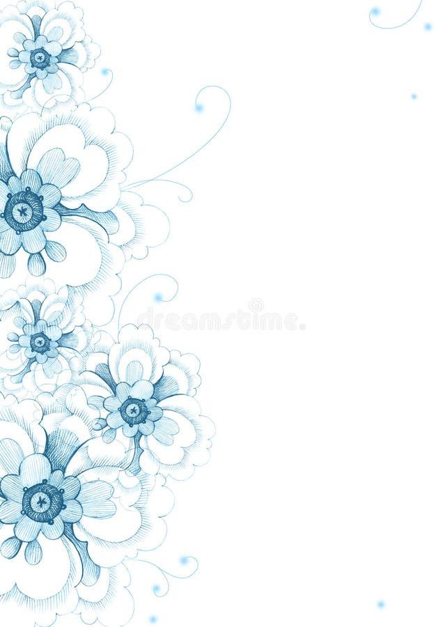 Bello fondo con i fiori decorativi blu su bianco royalty illustrazione gratis