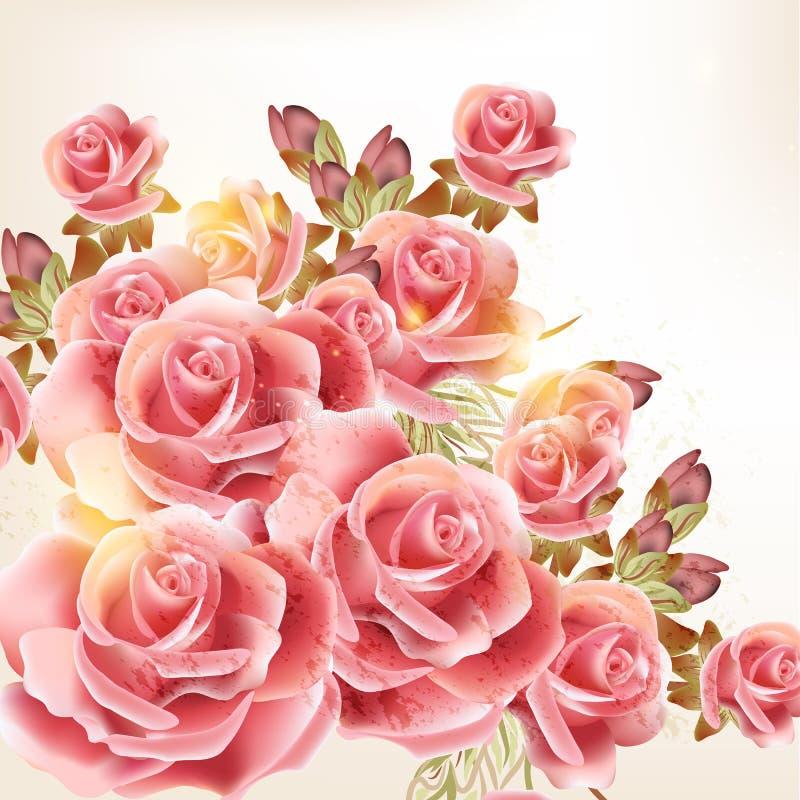 Bello fondo di vettore nello stile d'annata con i fiori rosa illustrazione vettoriale
