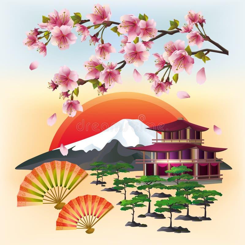 Download Bello Fondo Giapponese Con Sakura Ed I Fan Illustrazione Vettoriale - Illustrazione di asia, floreale: 55352219