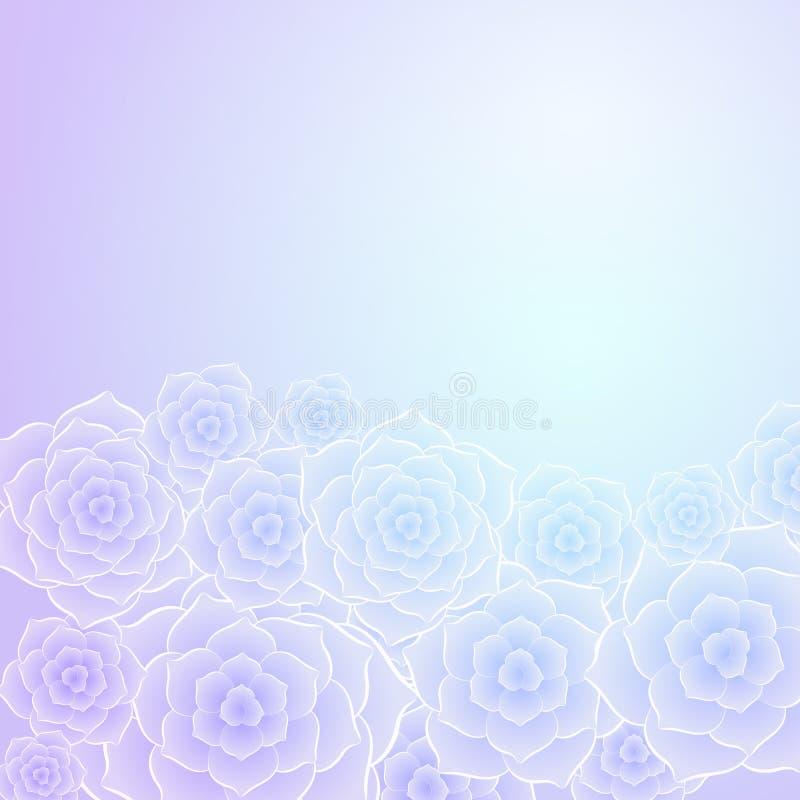 Bello fondo porpora del fiore della rosa del blu illustrazione di stock