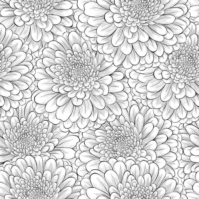 Bello fondo senza cuciture con i fiori in bianco e nero monocromatici illustrazione di stock