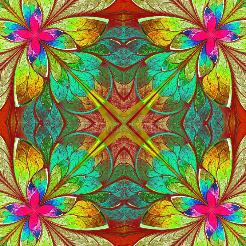 Bello frattale multicolore nello stile della finestra di vetro macchiato. Comp. illustrazione di stock