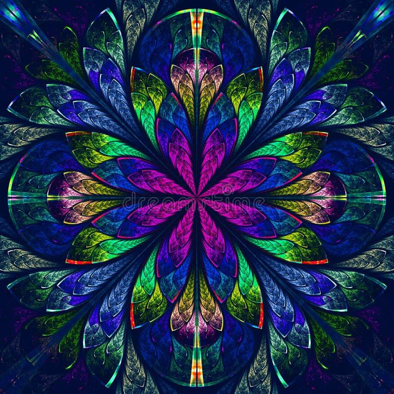Bello frattale multicolore nello stile della finestra di vetro macchiato. Comp. illustrazione vettoriale