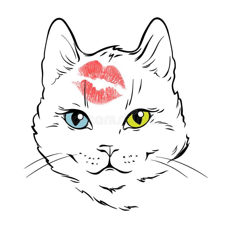 Bello fronte bianco del gatto con colore differente degli occhi baciato in fronte La progettazione disegnata a mano della stampa  illustrazione vettoriale