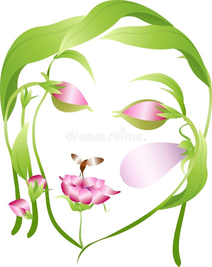Bello fronte della donna del fiore con gli occhi vicini illustrazione di stock