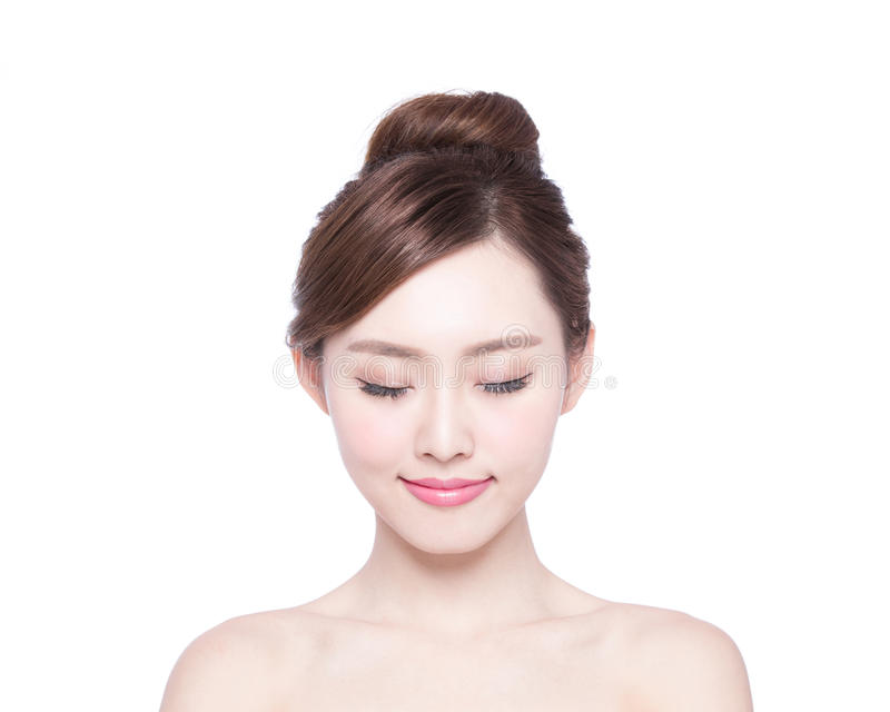 Bello fronte della donna di cura di pelle immagini stock
