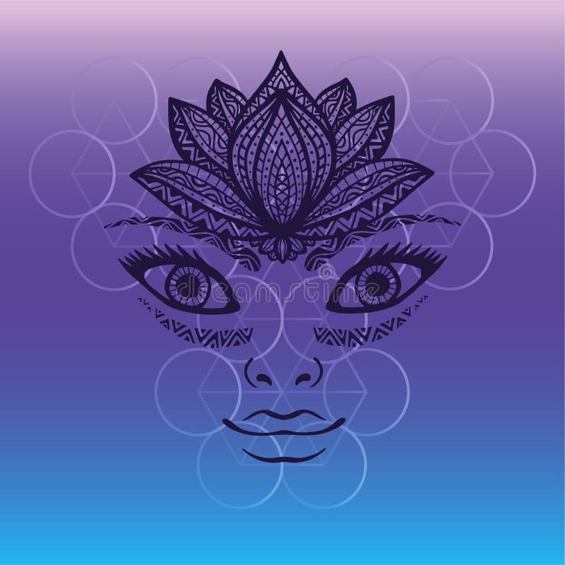 Bello fronte della donna, ritratto disegnato a mano del fronte grazioso della ragazza con la corona del fiore di loto come casco  illustrazione di stock