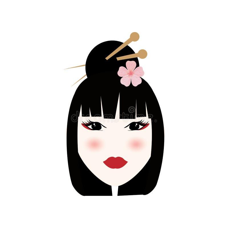 Bello fronte della geisha royalty illustrazione gratis