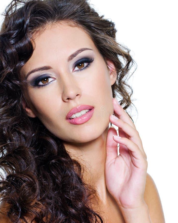 Bello fronte di giovane donna con pelle pulita immagini stock libere da diritti