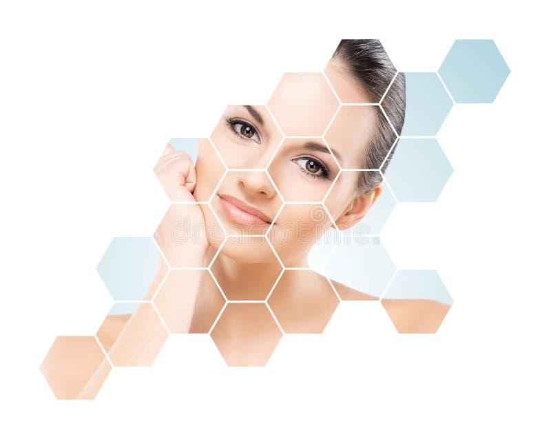Bello fronte di giovane e donna in buona salute Chirurgia plastica, cura di pelle, cosmetici e concetto di lifting facciale immagini stock libere da diritti