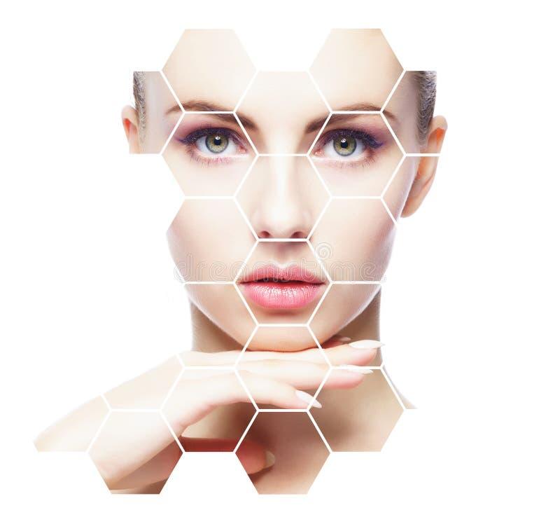 Bello fronte di giovane e donna in buona salute Chirurgia plastica, cura di pelle, cosmetici e concetto di lifting facciale fotografia stock