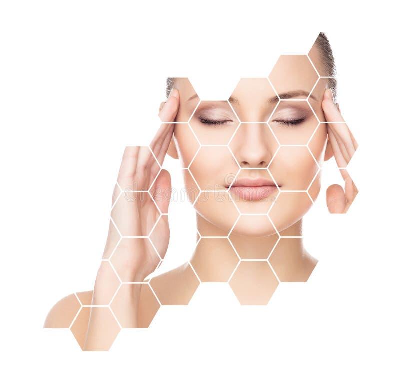 Bello fronte di giovane e ragazza in buona salute Chirurgia plastica, cura di pelle, cosmetici e concetto di lifting facciale fotografia stock libera da diritti