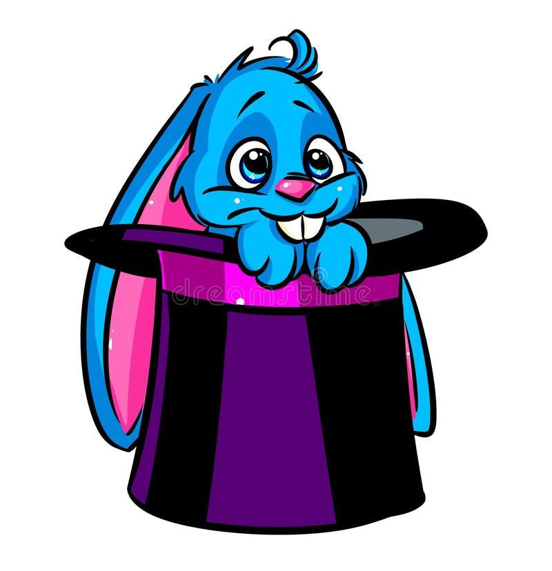 Bello fumetto del cilindro del fuoco del coniglio illustrazione di stock