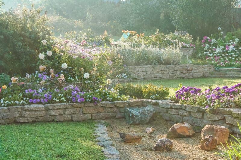 Bello giardino di fioritura all'alba fotografie stock
